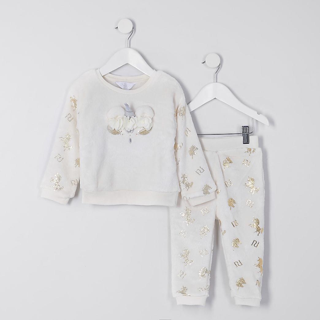 Mini girls cream unicorn cosy pyjama set
