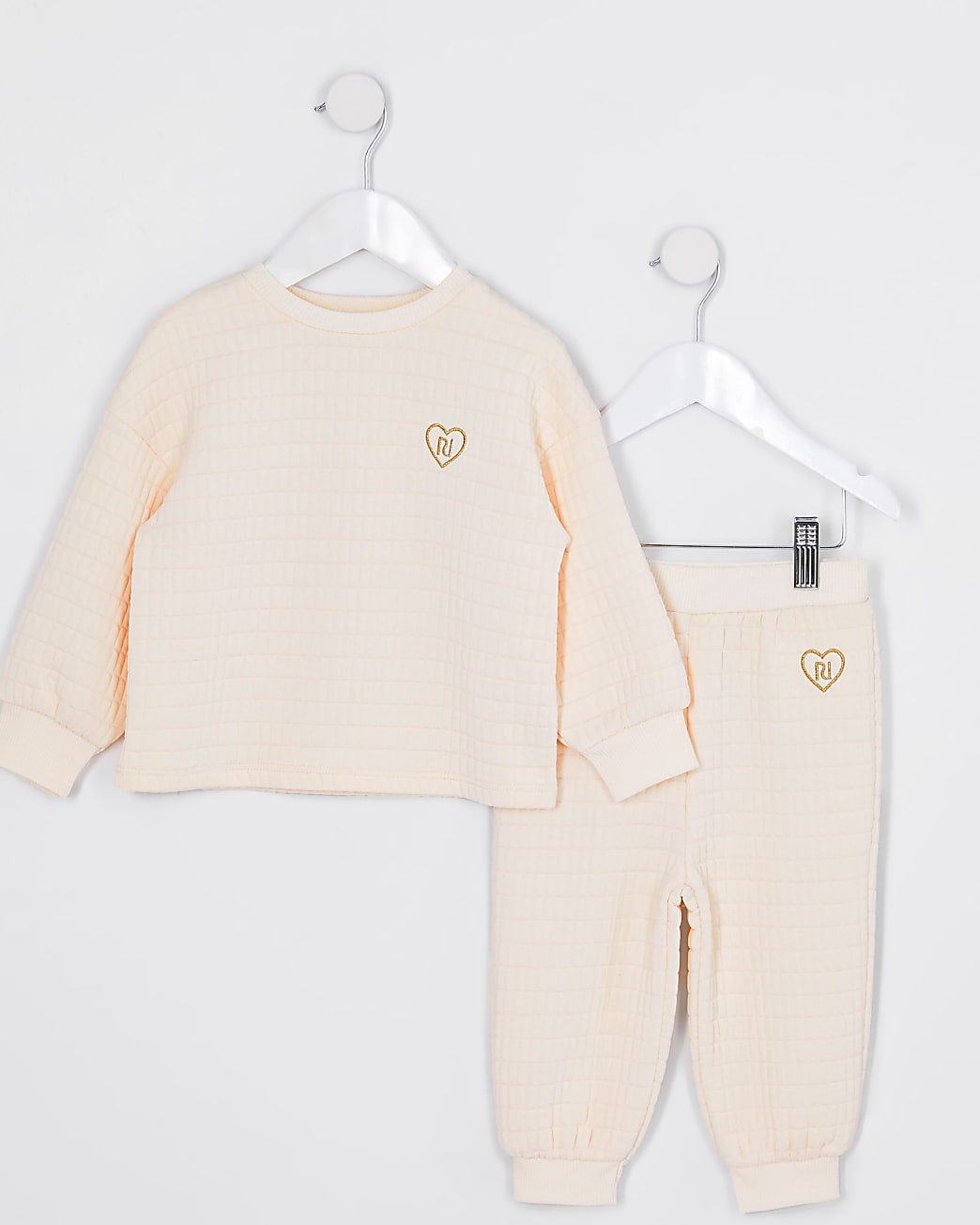 Mini girls cream waffle texture outfit