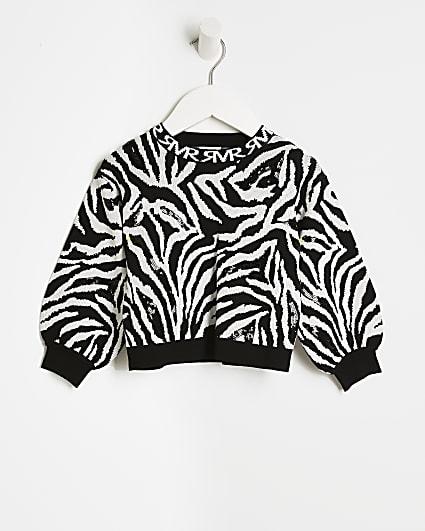 Mini girls cream zebra print sequin jumper
