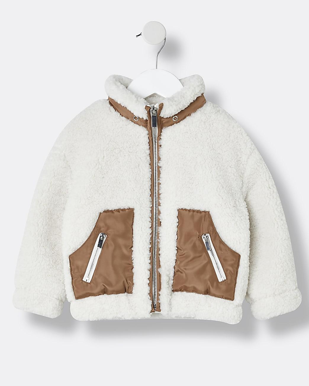 Mini girls cream zip funnel borg jacket