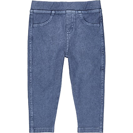 Mini girls denim blue leggings