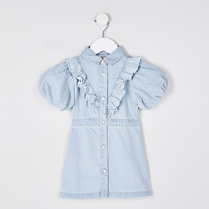 Mini girls denim bubble sleeve shirt dress