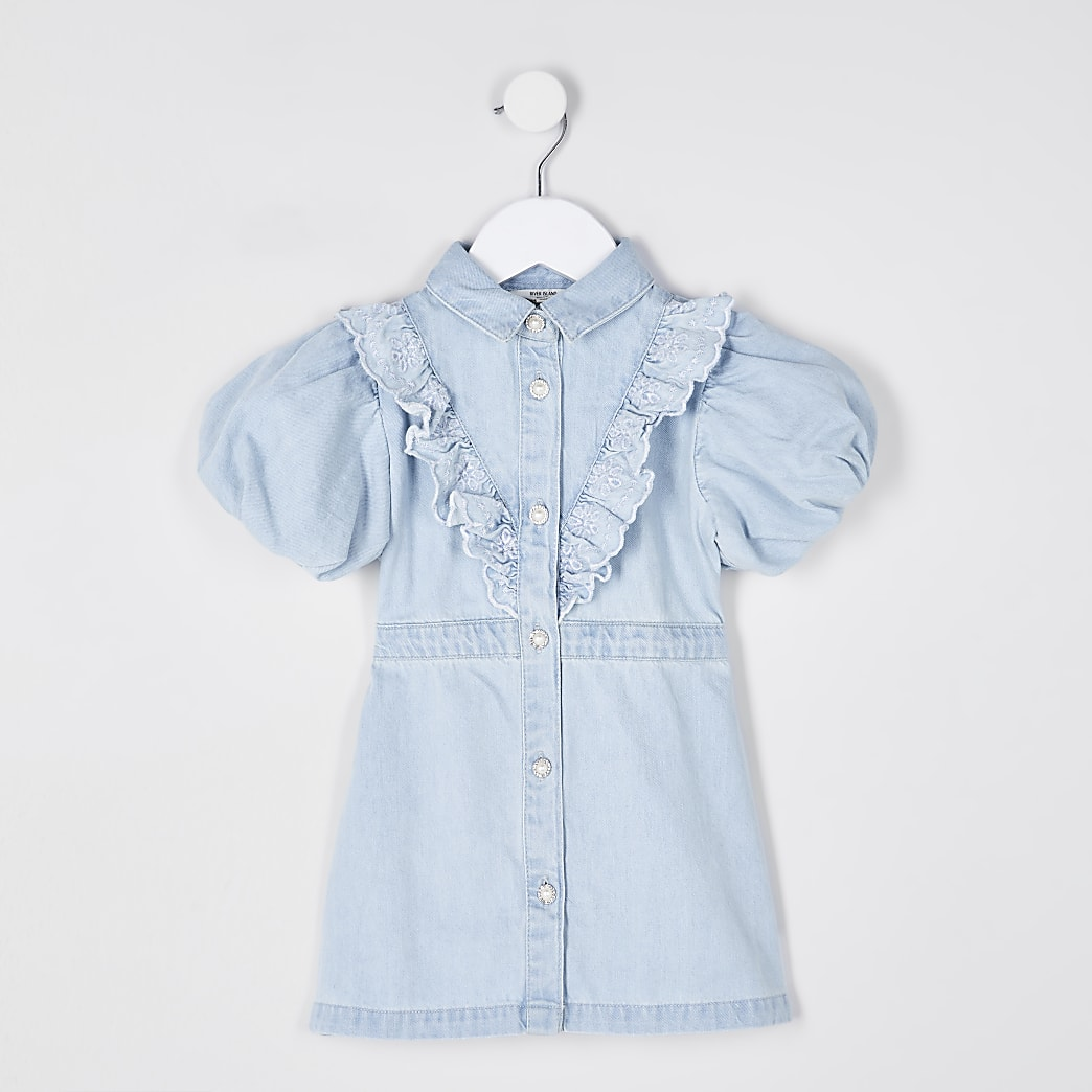 Mini girls denim bubble sleeve shirt dress