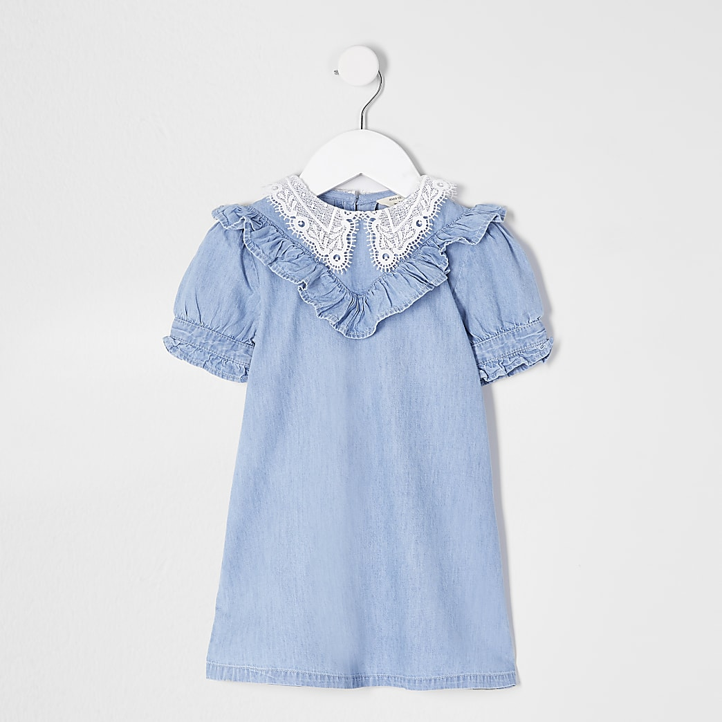 Mini girls denim lace collar dress