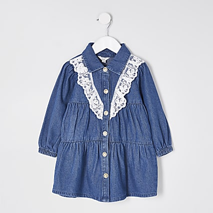 Mini girls denim lace frill smock dress
