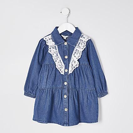 Mini girls denim lace frill smock dress