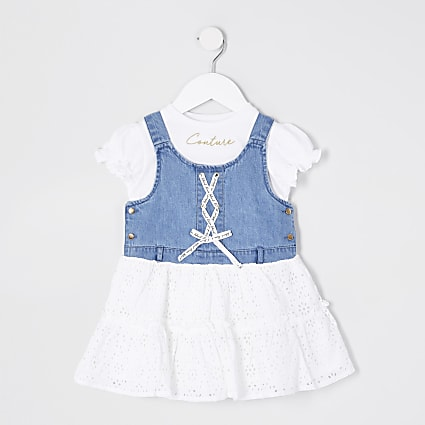 Mini girls denim pinafore dress outfit