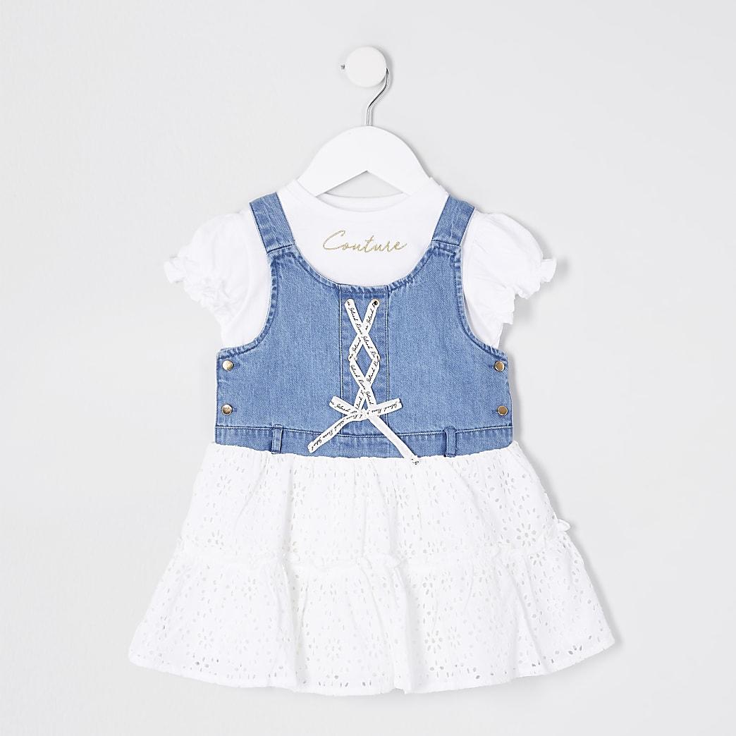 Mini girls denim pinafore dress outfit