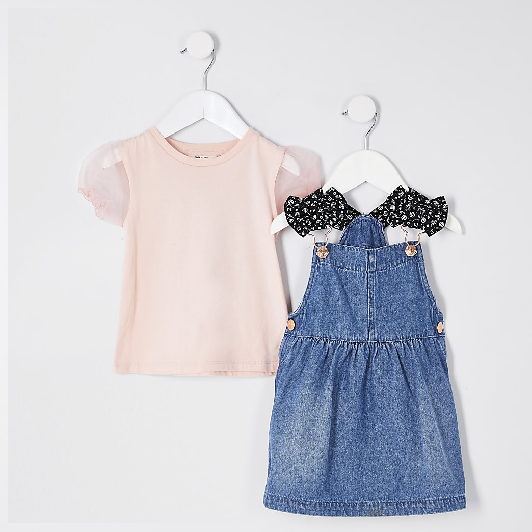 Mini girls denim pinny dress outfit
