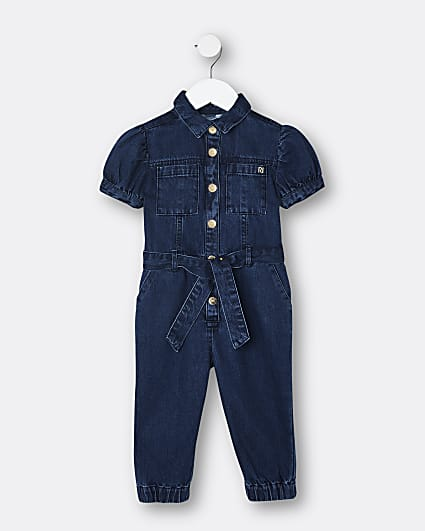 Mini girls denim puff sleeve boiler suit