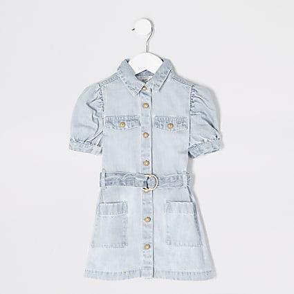 Mini girls denim puff sleeve shirt dress