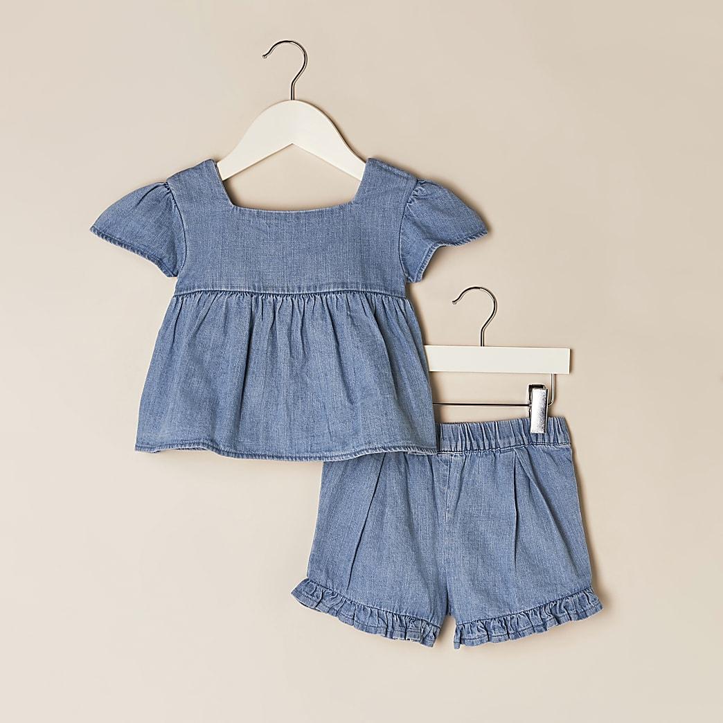 Mini girls denim top & shorts outfit