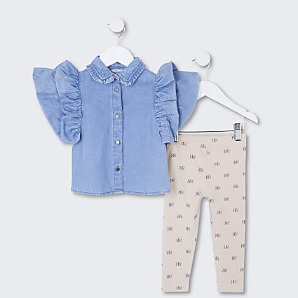 Mini girls denim top and leggings outfit