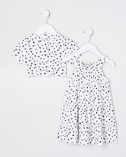 Mini girls dress and cardigan outfit