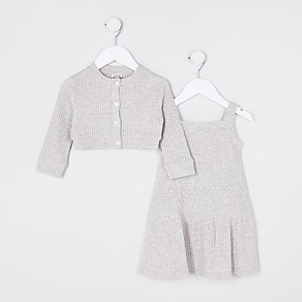 Mini girls ecru 2in1 pinafore dress outfit