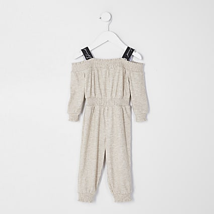 Mini girls ecru bardot neck jumpsuit