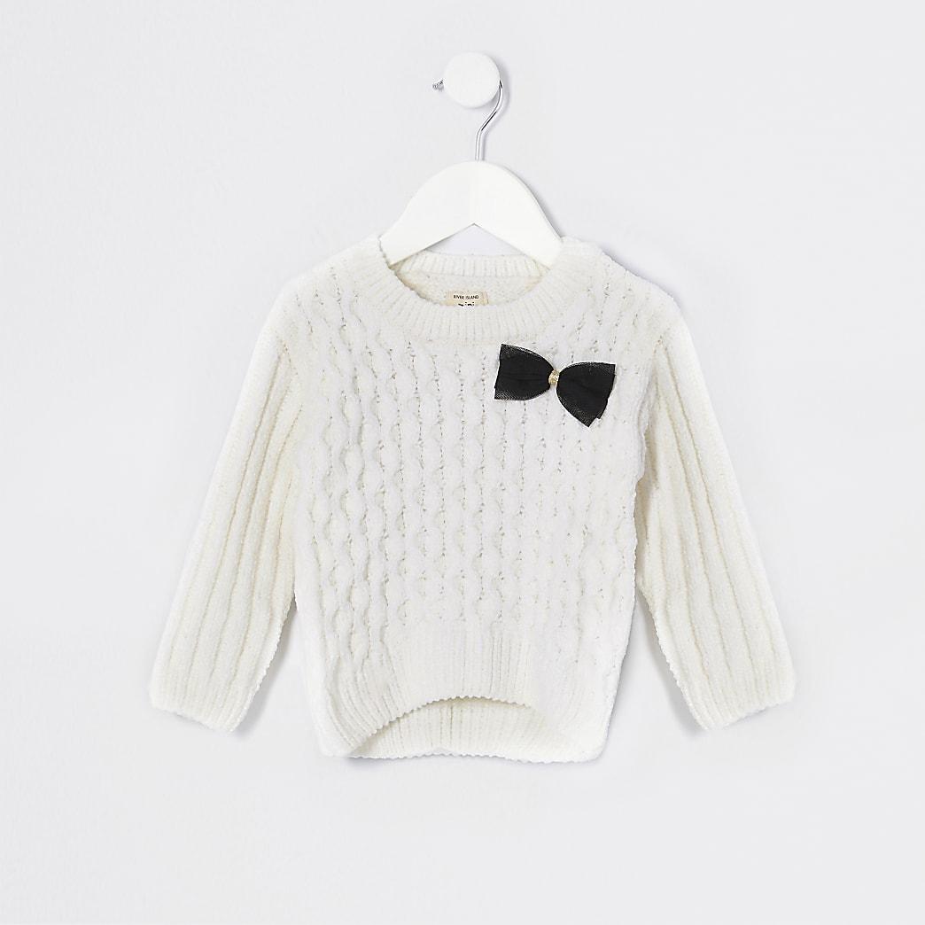 Mini girls ecru cable knit jumper set
