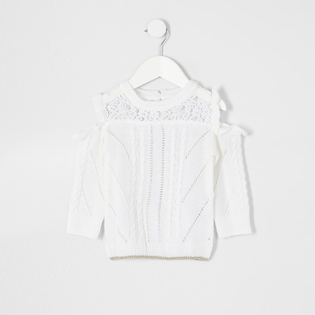 Mini girls ecru cold shoulder slouch jumper