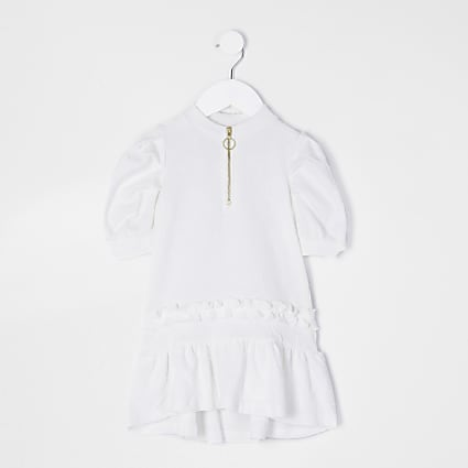 Mini girls ecru dipped hem frill smock dress