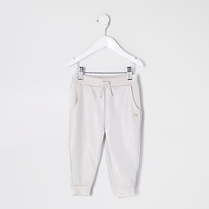 Mini girls ecru faux leather front Joggers