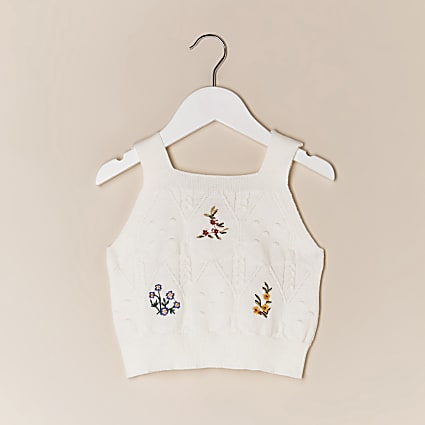 Mini girls ecru knitted embroidered cami top