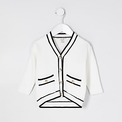 Mini girls ecru longline button cardigan