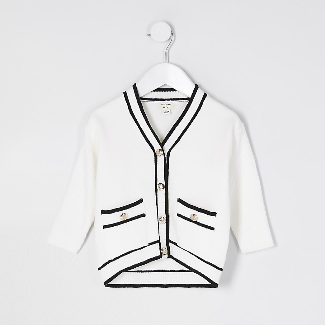 Mini girls ecru longline button cardigan