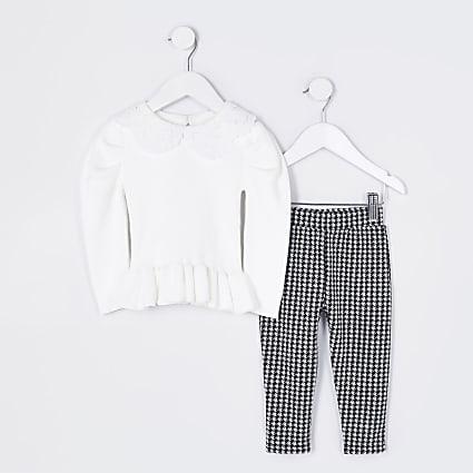 Mini girls ecru peplum jumper & leggings set