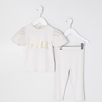 Mini girls ecru puff sleeve outfit