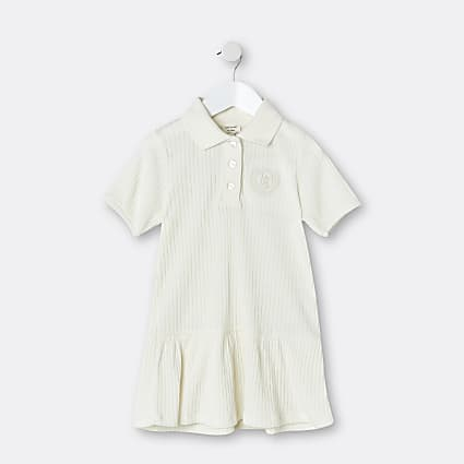 Mini girls ecru ribbed polo dress