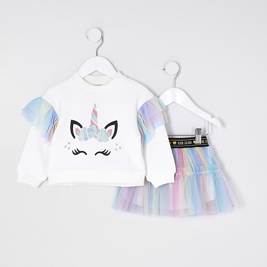 Mini girls ecru unicorn tu tu outfit