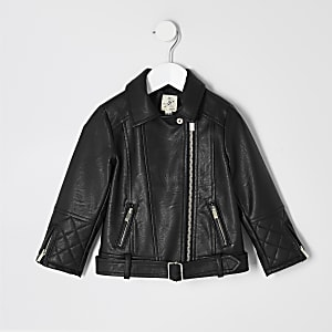 Mini girls faux leather belted biker jacket