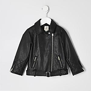 Mini – Schwarze Bikerjacke aus Kunstleder mit Gürtel