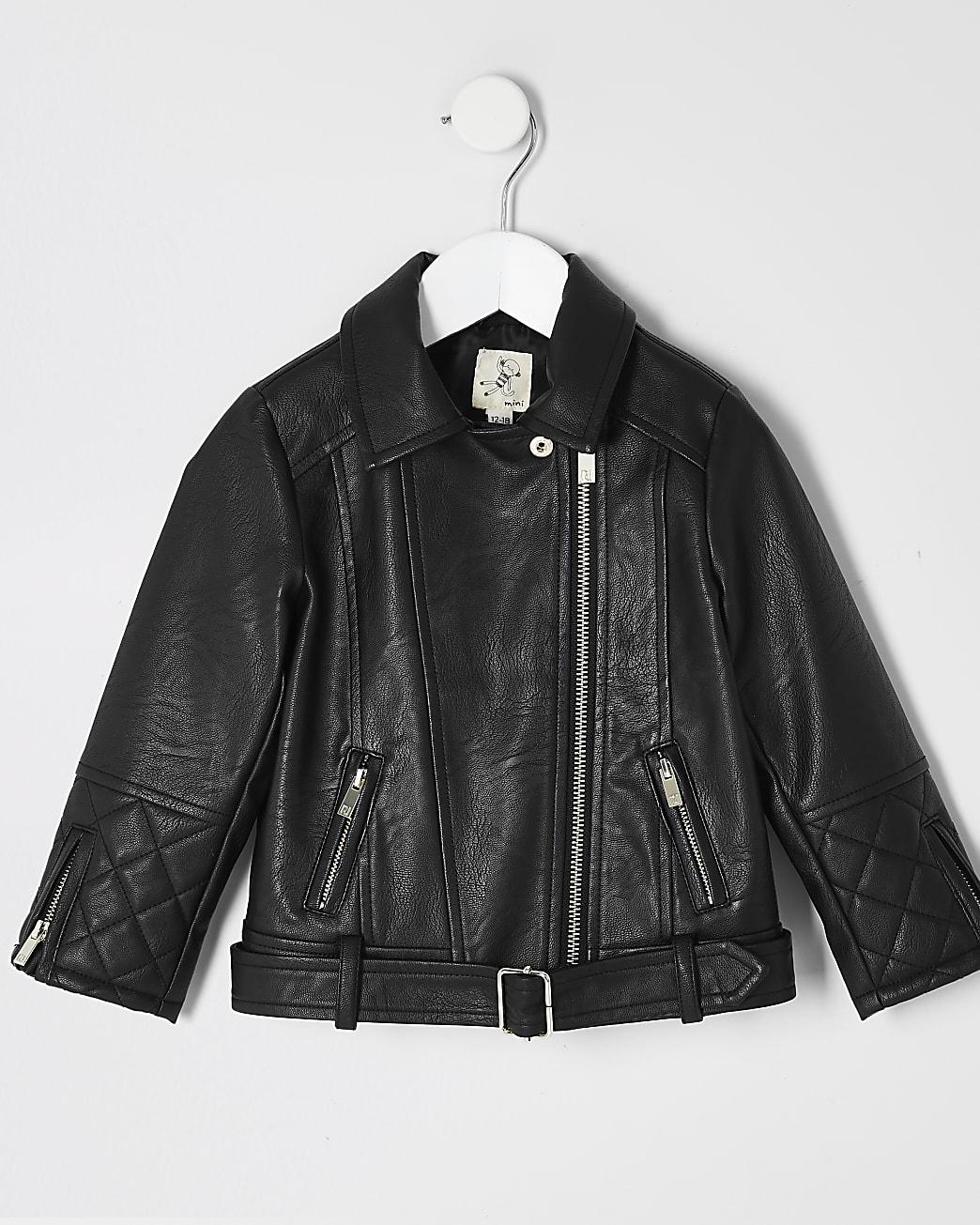Mini girls faux leather belted biker jacket