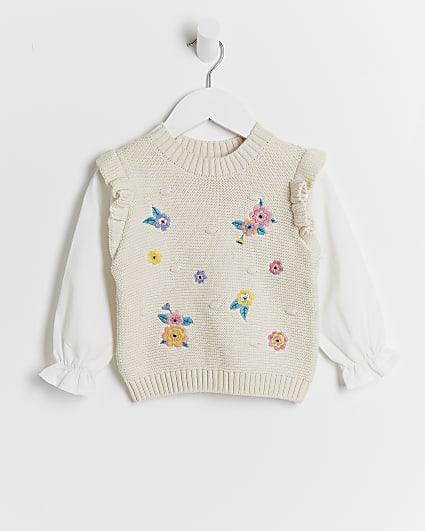 Mini girls floral embroidered jumper
