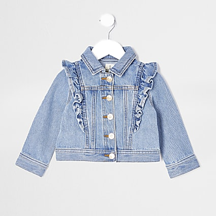 Mini girls frill denim Jacket