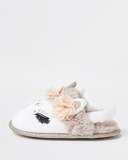 Mini girls glam unicorn slippers