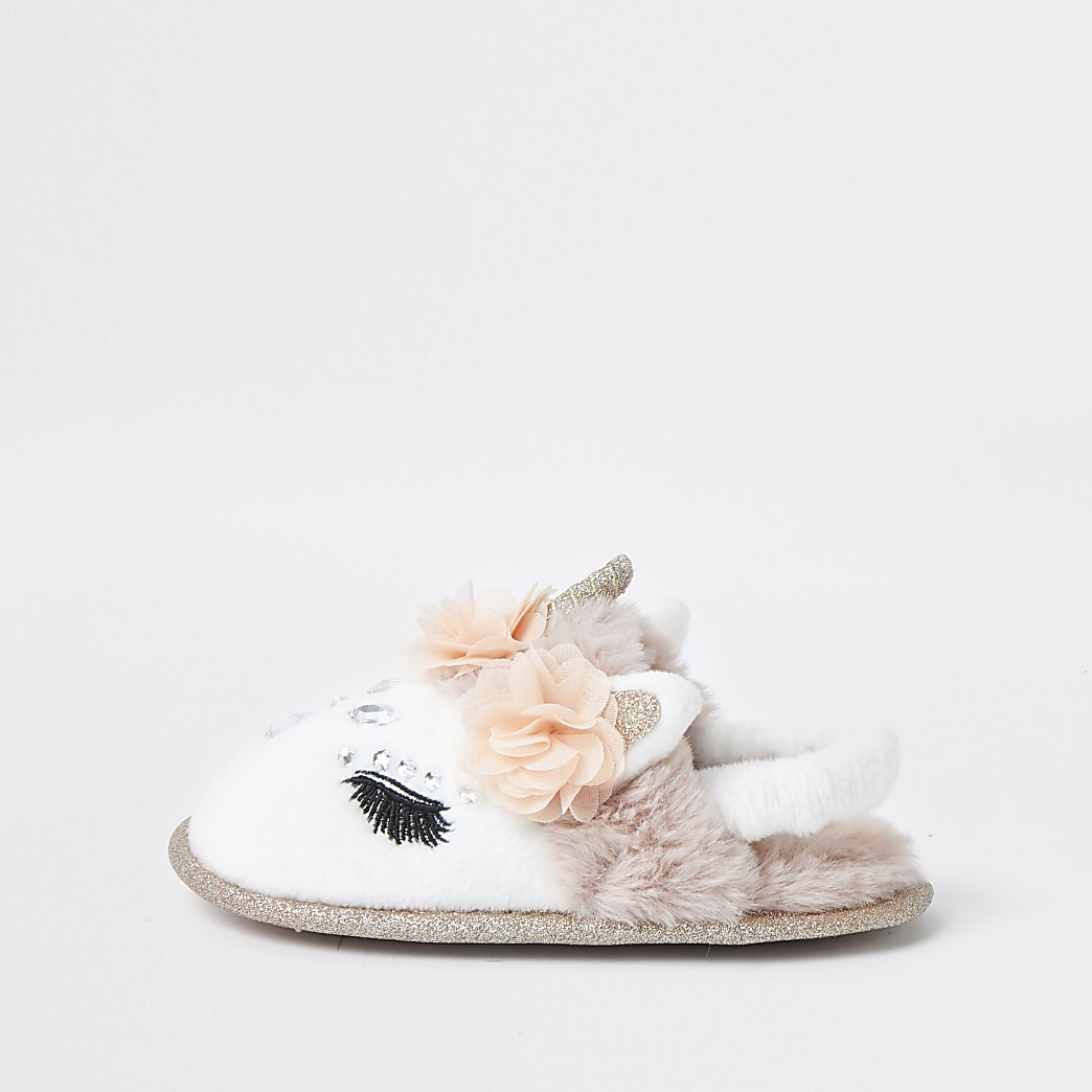 Mini girls glam unicorn slippers