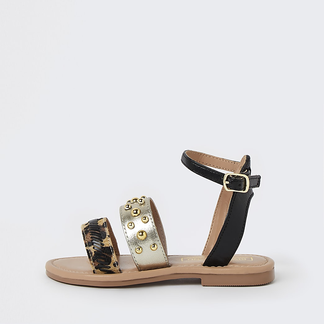 Mini girls gold animal print stud sandals