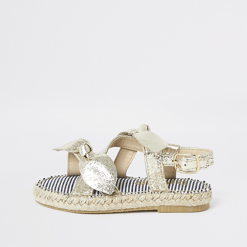 Mini girls gold bow espadrille sandals