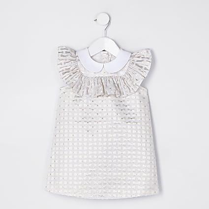 Mini girls gold bow print shift dress