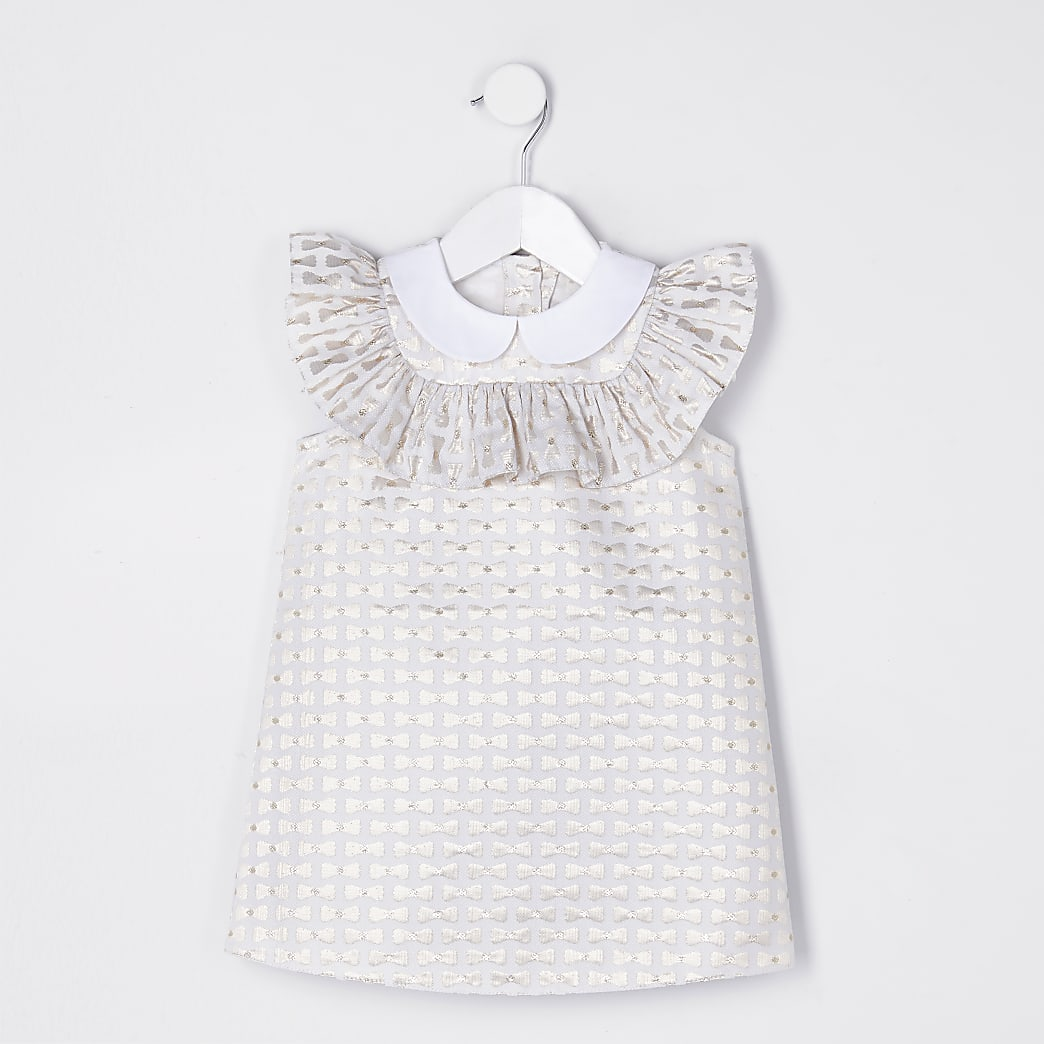 Mini girls gold bow print shift dress