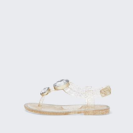 Mini girls gold embellished jelly sandal
