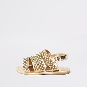 Mini girls gold embellished strappy sandals