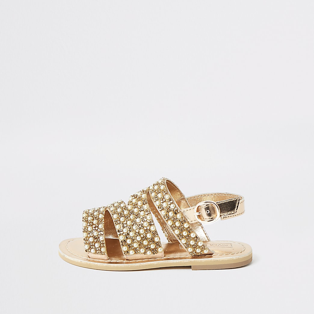 Mini girls gold embellished strappy sandals