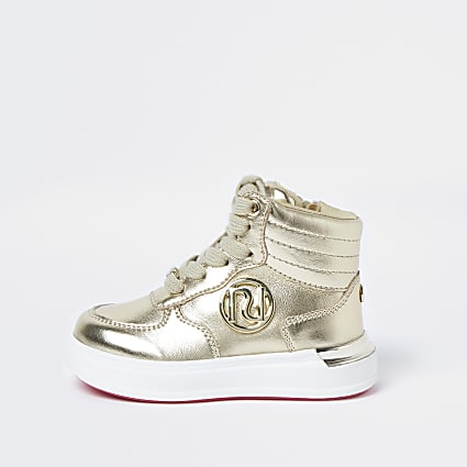 Mini girls gold high top trainers