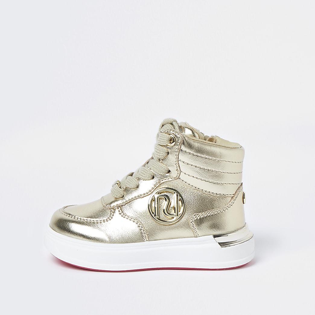 Mini girls gold high top trainers
