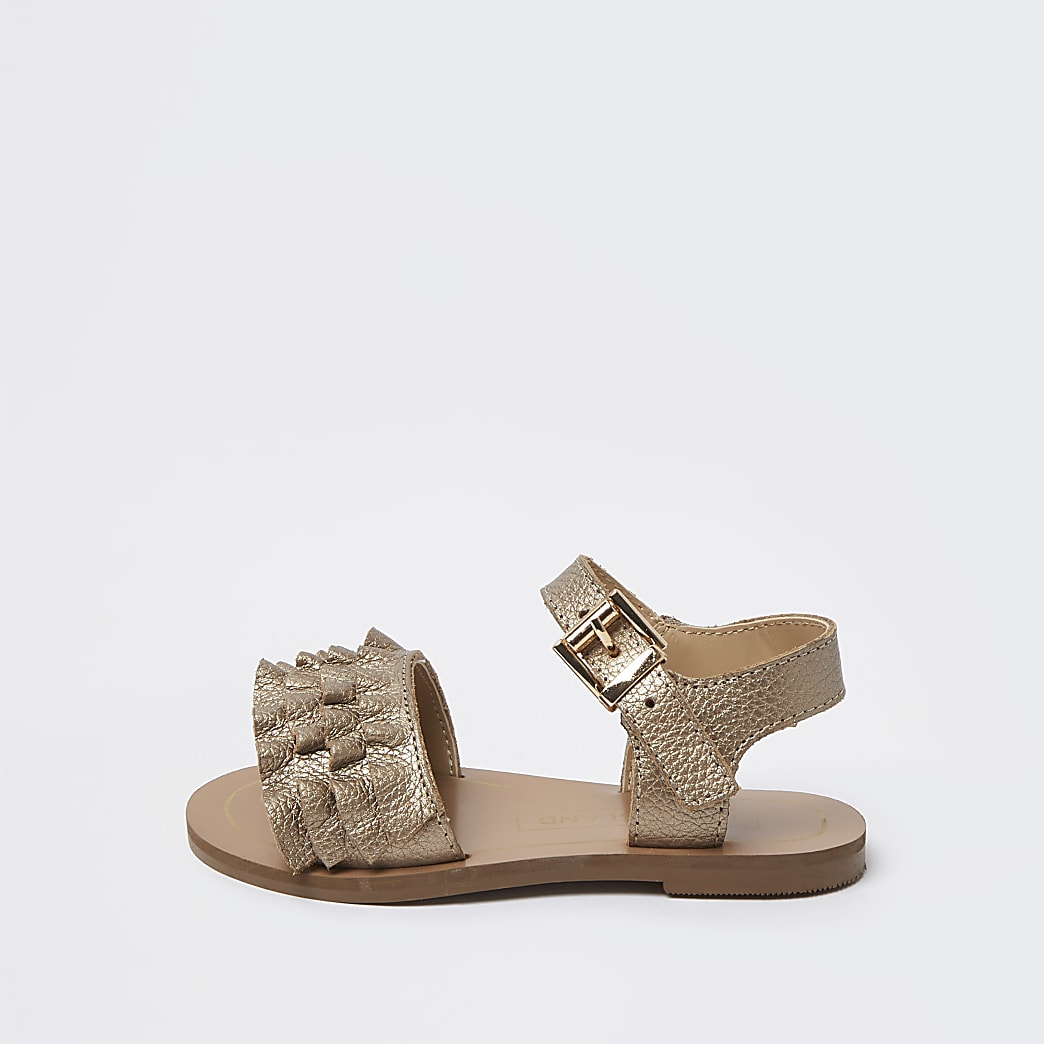 Mini girls gold leather ruffle sandals