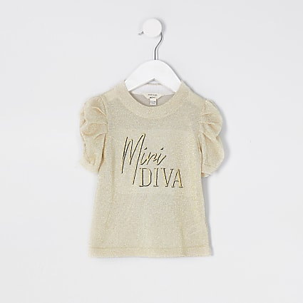 Mini girls gold puff sleeve lurex t-shirt