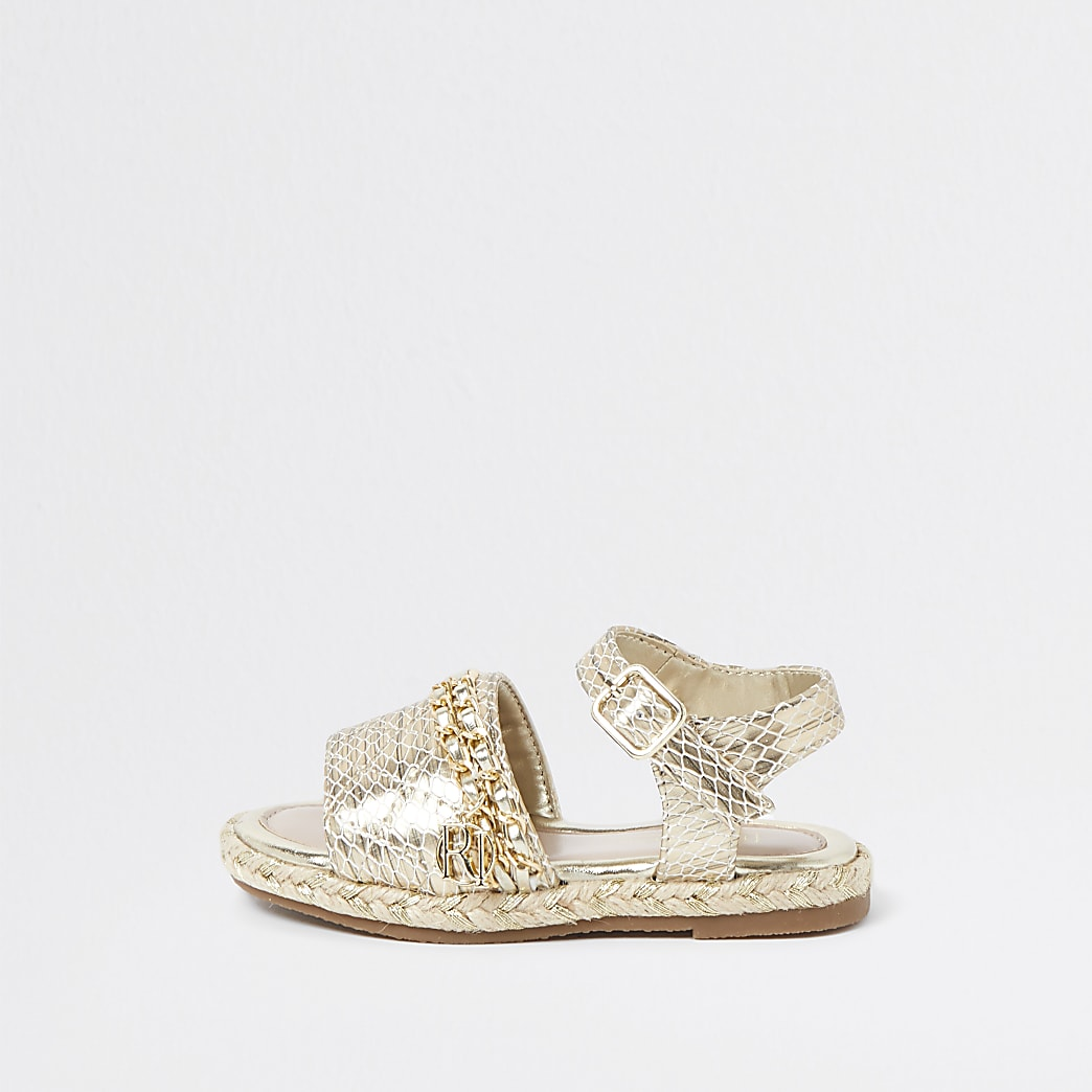 Mini girls gold quilted chain sandals